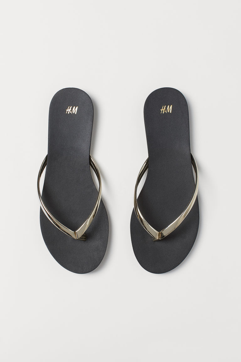 Flip-flops - Black/Gold-coloured - Ladies | H&M GB