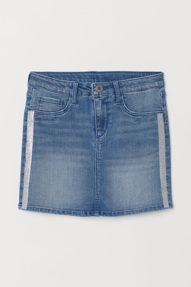 Glitter-striped denim skirt - Denim blue/Glittery - Kids | H&M CN