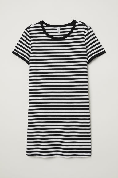 T-shirt dress - Black/White striped -  | H&M CN