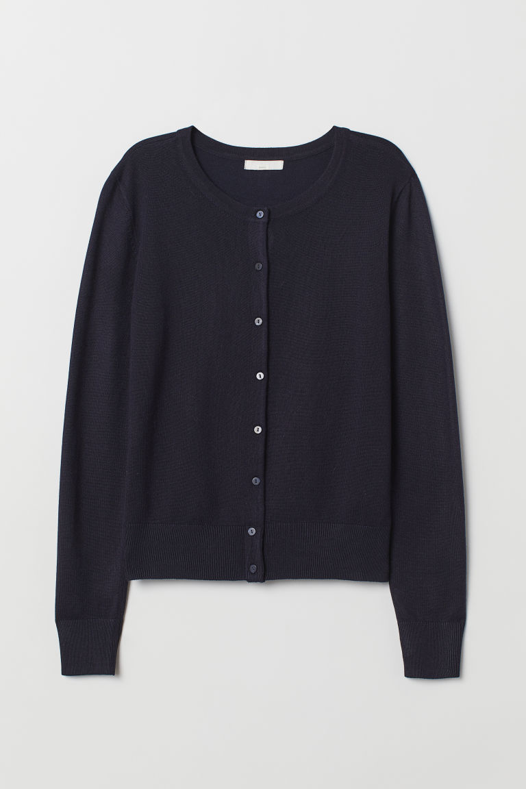 Fine-knit Cardigan - Dark blue - Ladies | H&M US