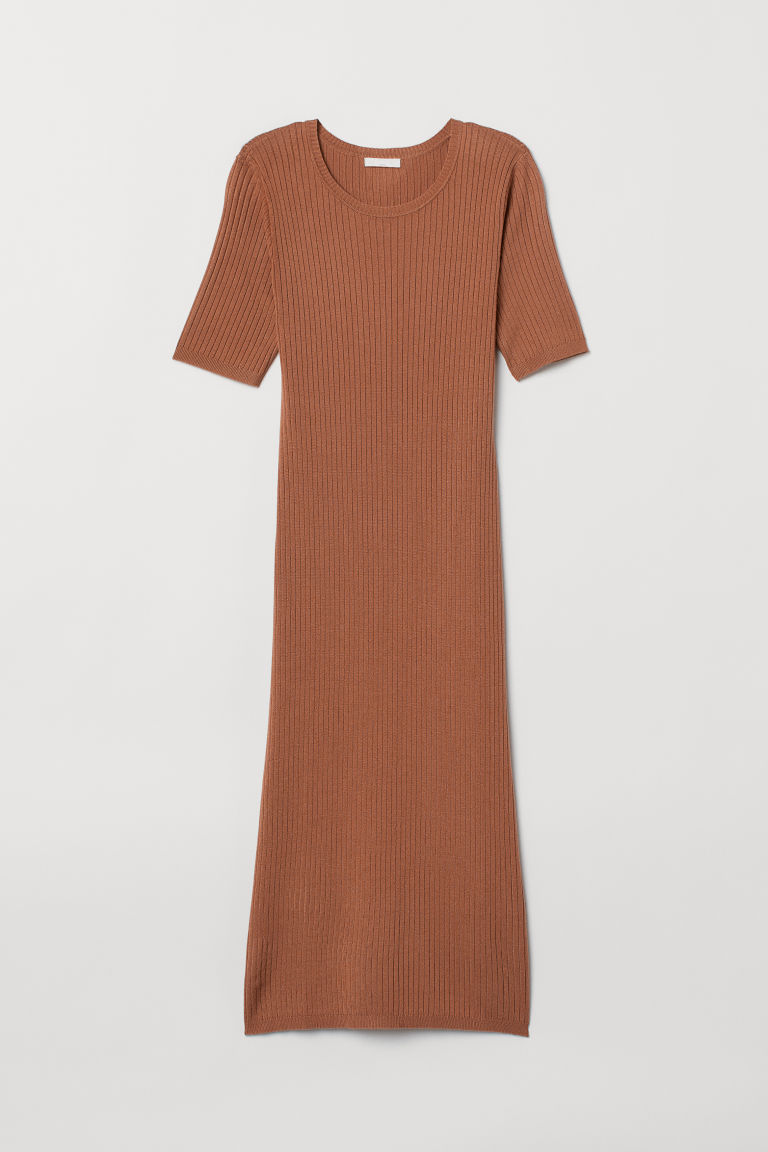 Ribbed Jersey Dress - Dark beige - Ladies | H&M US