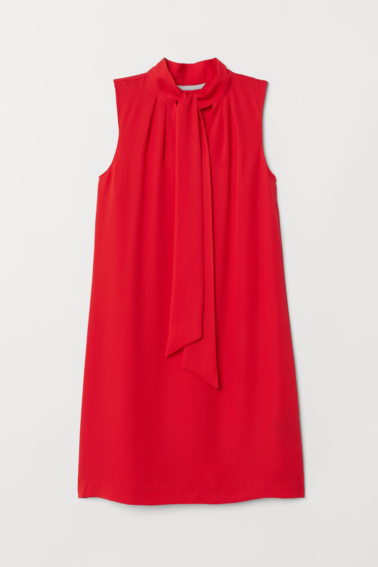 Tie-collar dress - Red - Ladies | H&M