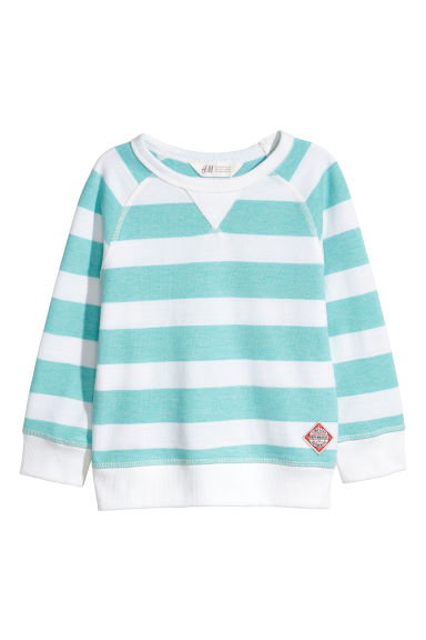 Cotton piqué top - Light green/White striped - Kids | H&M