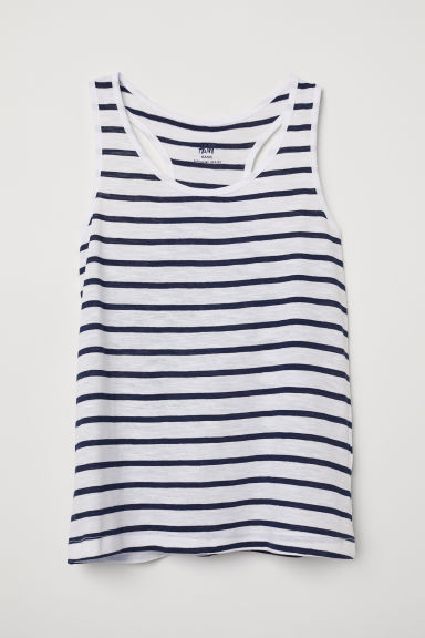 Racer-back jersey vest top - White/Striped -  | H&M