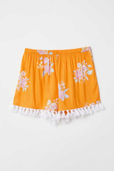 Shorts con nappine - Giallo/fiori - DONNA | H&M IT