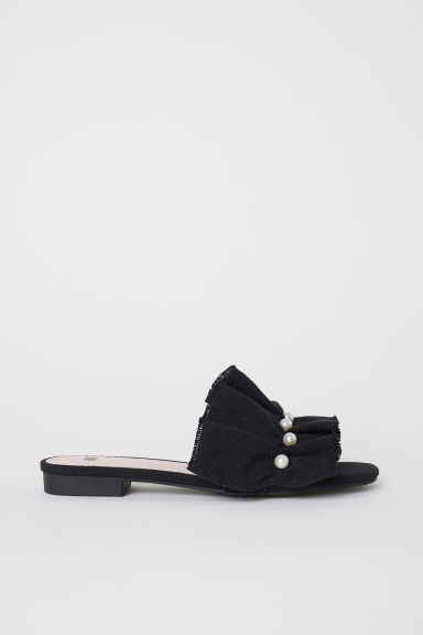 Frilled mules - Black - Ladies | H&M CN