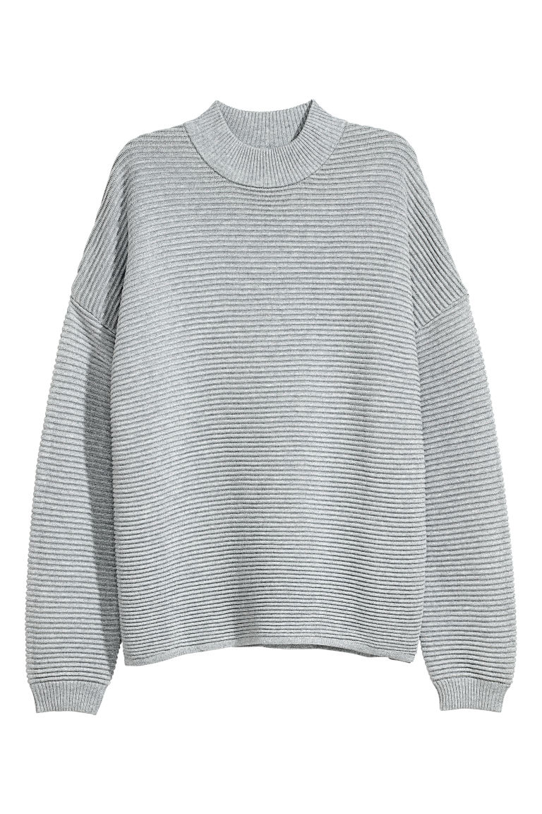 Ribbed jumper - Grey/Silver-coloured - Ladies | H&M CN