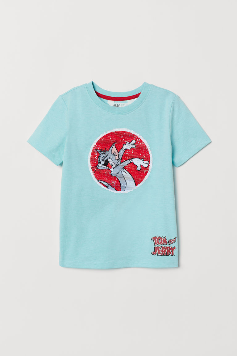 T-shirt with a motif - Light blue/Tom and Jerry -  | H&M CN