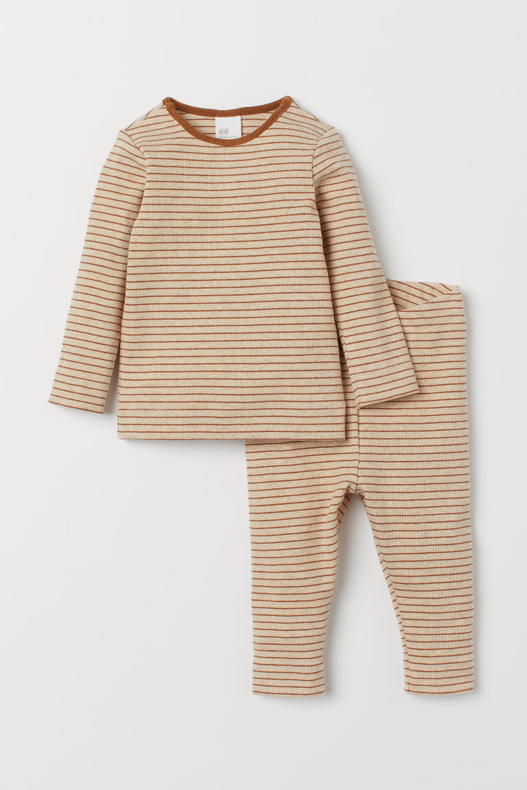 Cotton top and leggings - Light beige/Brown striped -  | H&M