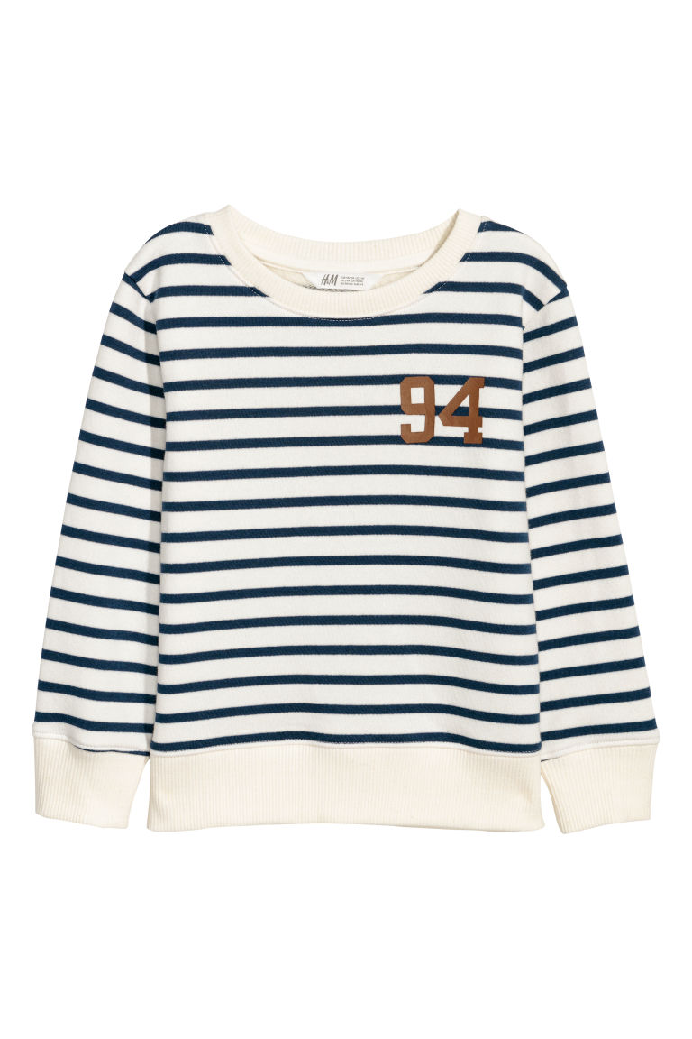 Printed sweatshirt - Natural white/Blue striped - Kids | H&M