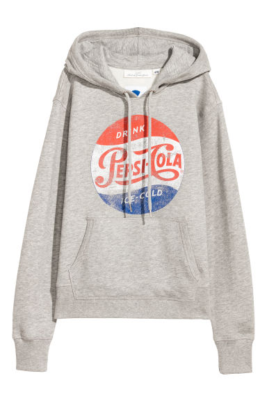 Printed hooded top - Light grey/Pepsi - Ladies | H&M