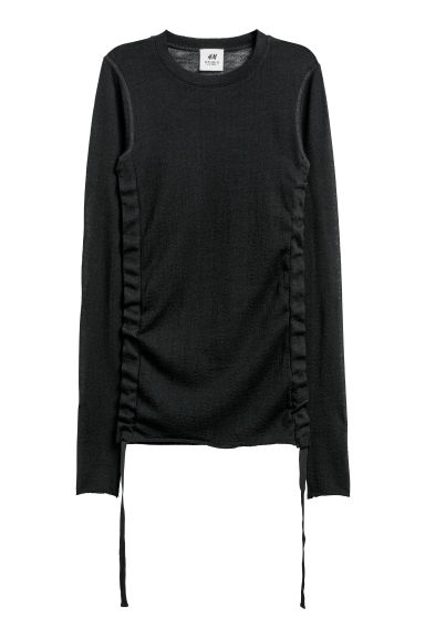 Knitted wool top - Black - Ladies | H&M