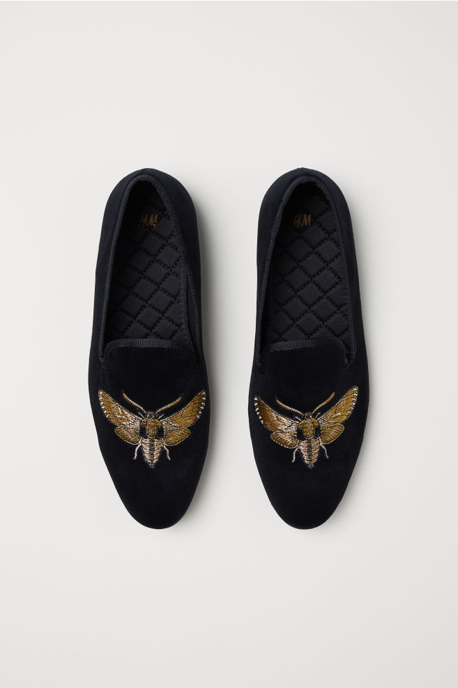 16b5729f5f726 Velour Loafers - Black/insect - Men | H&M ...