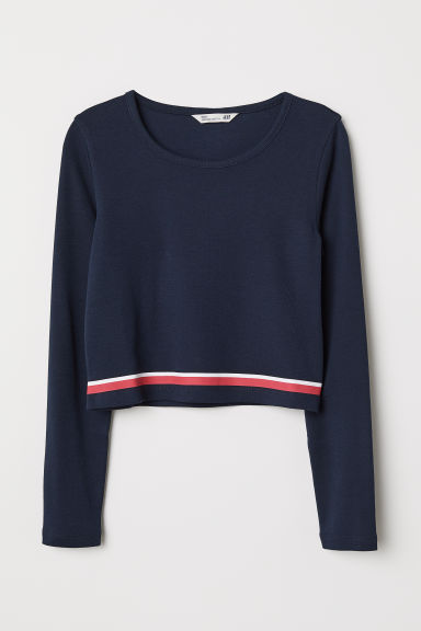 Top corto in jersey - Blu scuro - BAMBINO | H&M IT