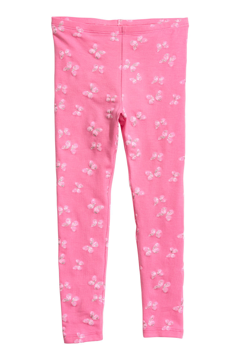 Jersey leggings - Pink/Butterflies -  | H&M