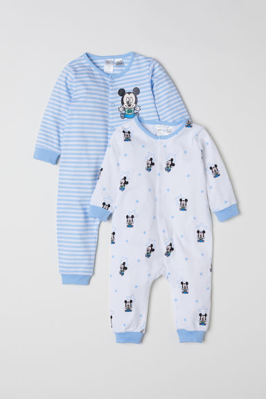 2-pack all-in-one pyjamas - Light blue/Mickey Mouse - Kids | H&M