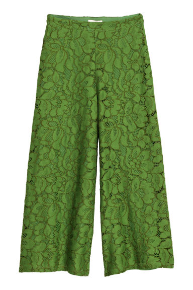 Pantaloni ampi in pizzo - Verde - DONNA | H&M IT