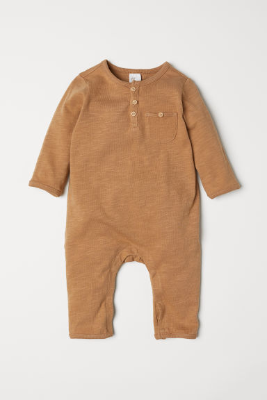 Slub jersey all-in-one suit - Dark beige - Kids | H&M CN