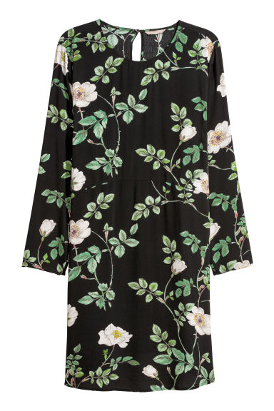 H&M+ Short dress - Black/Roses -  | H&M