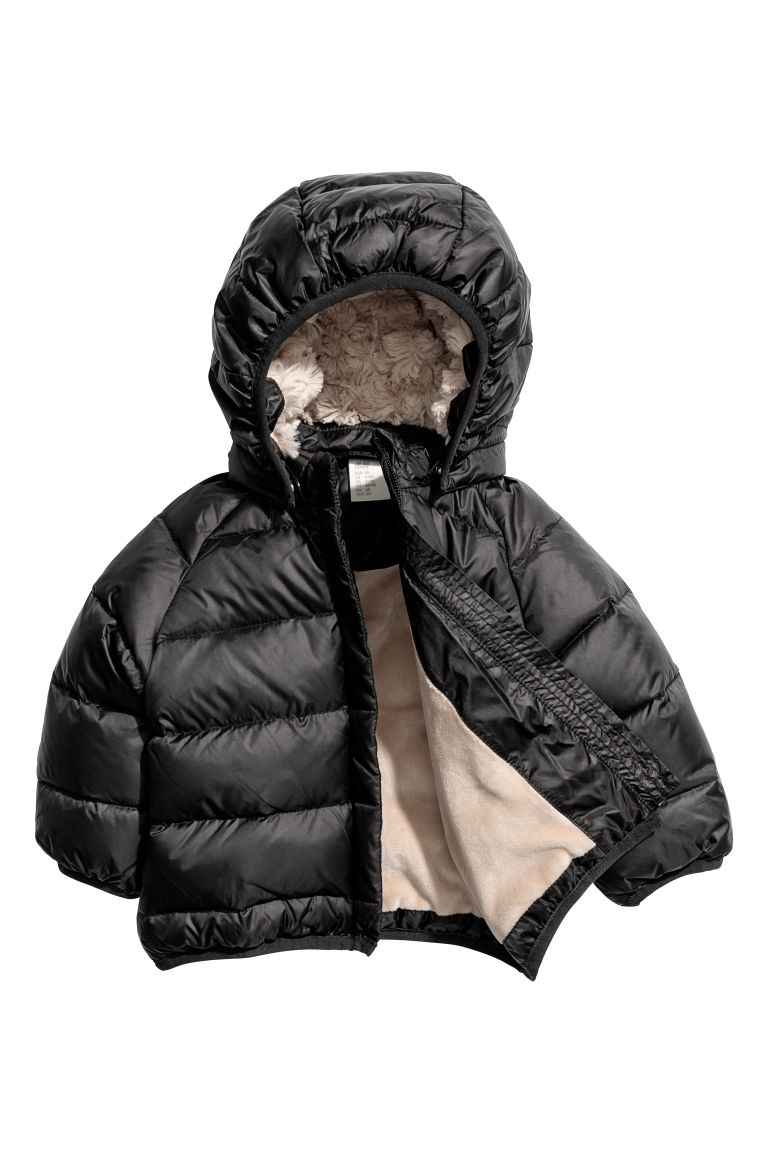 Hooded down jacket - Black - Kids | H&M