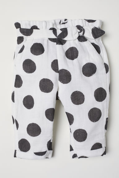 Tie-detail trousers - White/Spotted -  | H&M CN