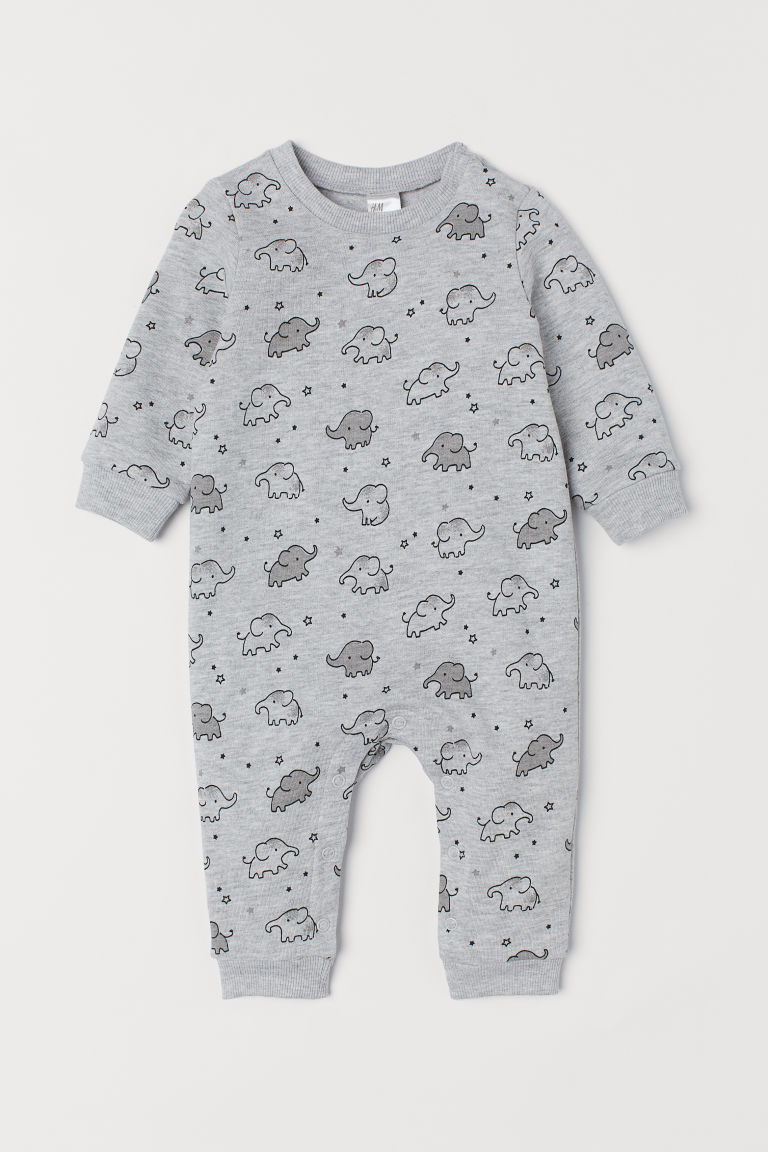 All-in-one suit - Light grey marl/Elephants - Kids | H&M