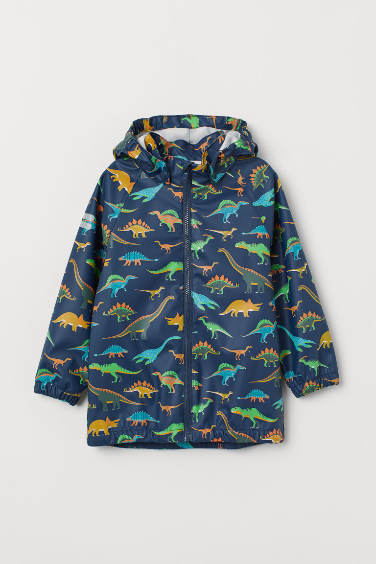 Hooded rain jacket - Dark blue/Dinosaurs -  | H&M CN