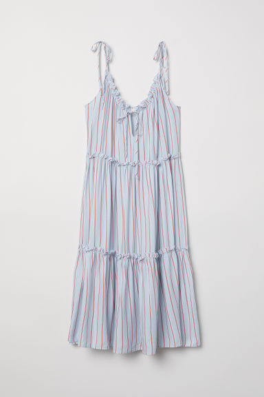 Sleeveless frill-trimmed dress - Light blue/Striped -  | H&M