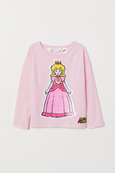 Top with reversible sequins - Light pink/Super Mario - Kids | H&M