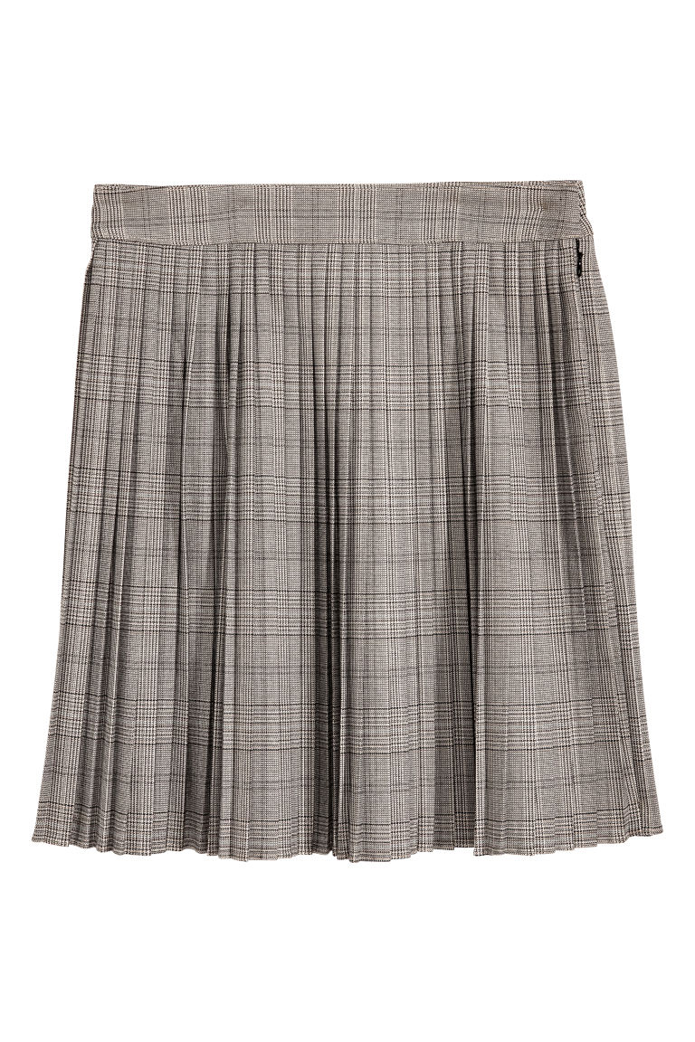 Pleated skirt - Beige/Checked - Ladies | H&M