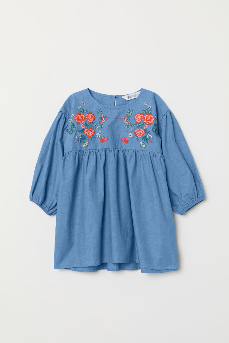 Dress with embroidery - Blue/Chambray - Kids | H&M