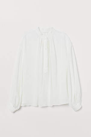 Grandad collar viscose blouse