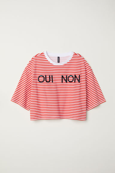 Short-sleeved sweatshirt - White/Red striped -  | H&M