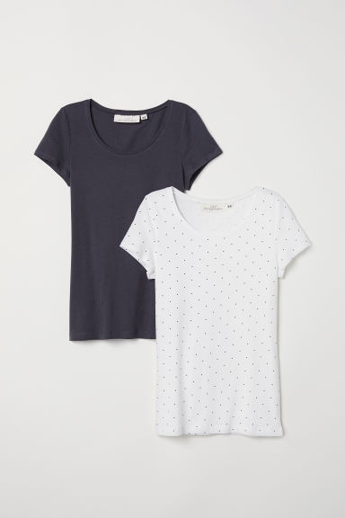 Top a maniche corte, 2 pz - Grigio scuro/pois - DONNA | H&M IT