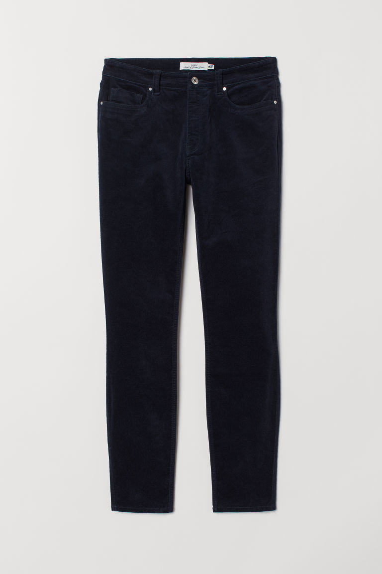 Stretch velvet trousers - Dark blue - Ladies | H&M
