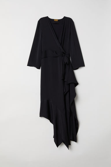 Long satin dress - Black - Ladies | H&M CN