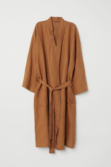 Washed linen dressing gown - Ochre - Home All | H&M CN