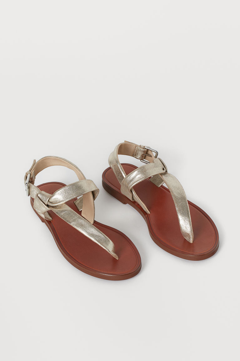 Leather Sandals - Gold-colored - Ladies | H&M CA