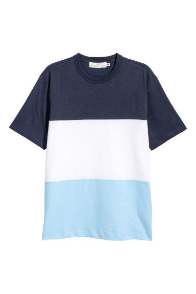 Block-patterned T-shirt - Dark blue -  | H&M