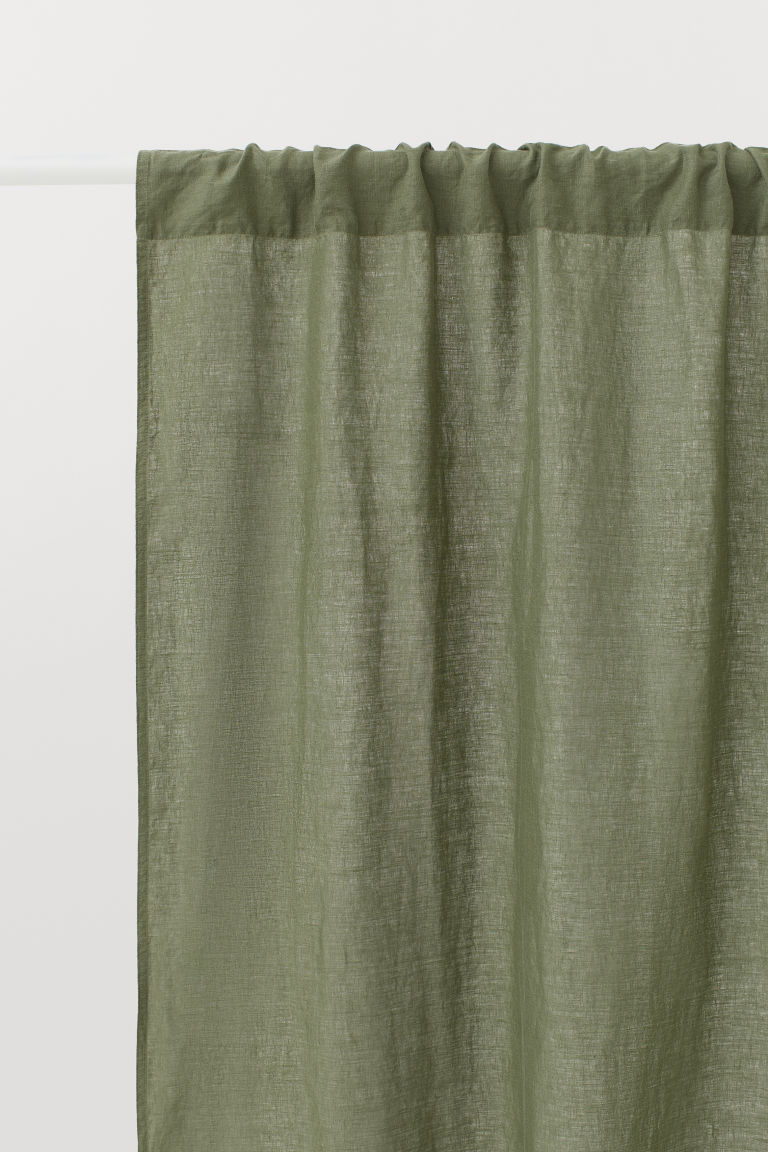 2-pack linen curtain lengths - Dark green - Home All | H&M CN
