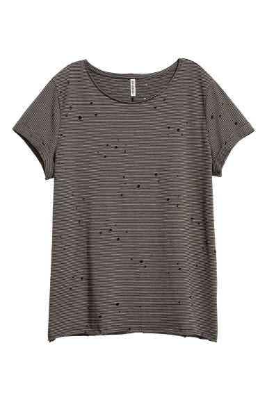 Camiseta Trashed - Verde oscuro/Rayas negras - MUJER | H&M ES