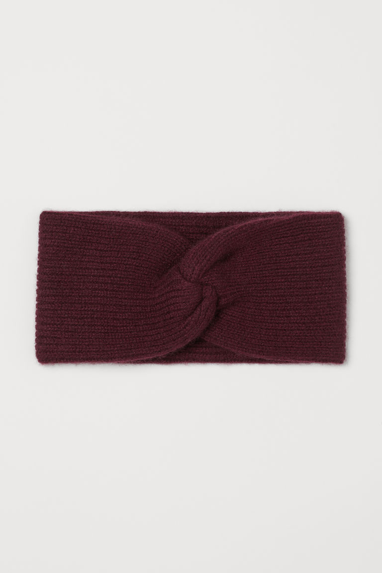 Knitted cashmere headband - Burgundy - Ladies | H&M IE