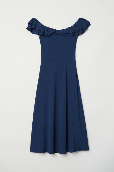 Off-the-shoulder dress - Dark blue - Ladies | H&M