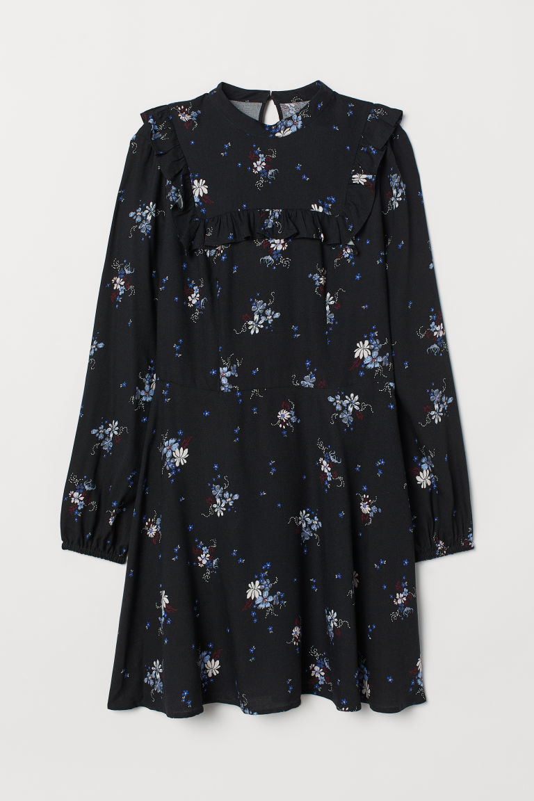 Dress with a frill - Black/Floral - Ladies | H&M CN