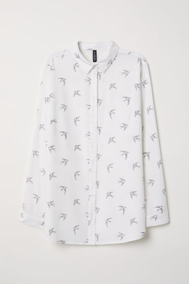Viscose shirt - White/Swallows - Ladies | H&M CN