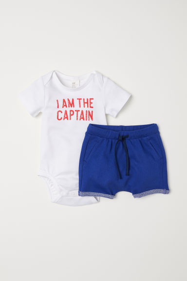 Katoenen body en short - Wit/donkerblauw - KINDEREN | H&M BE