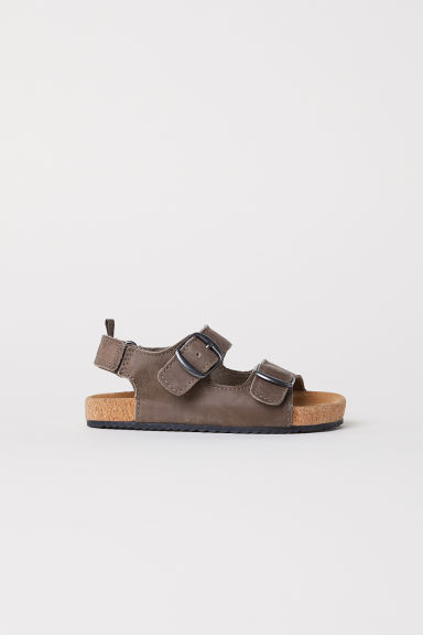 Strappy leather sandals - Brown -  | H&M CN