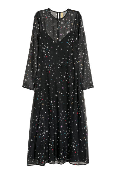 Patterned chiffon dress - Black/Stars - Ladies | H&M GB