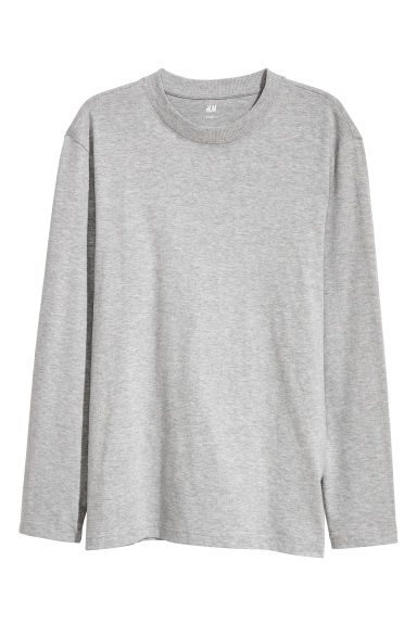 Top de manga larga Loose fit - Gris jaspeado - HOMBRE | H&M ES