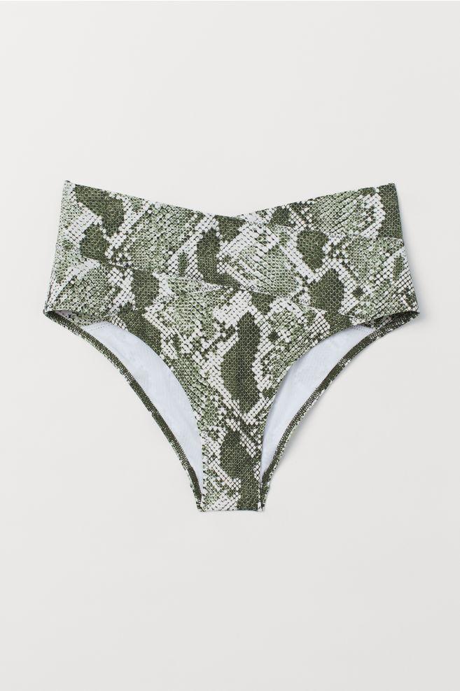 50bdf818e468e ... Bikini Bottoms High Waist - Dark green/snakeskin-patterned - Ladies |  H&M ...
